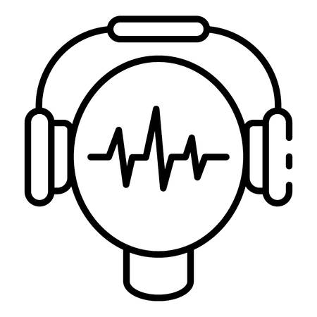 Audio headphones learning icon, outline style Stock Illustratie