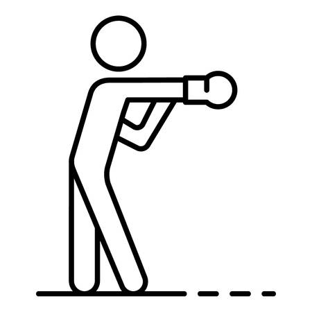 Boxing man icon, outline style