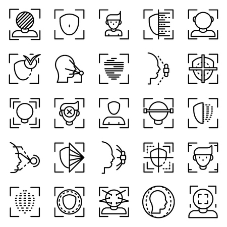 Face recognition system icons set, outline style