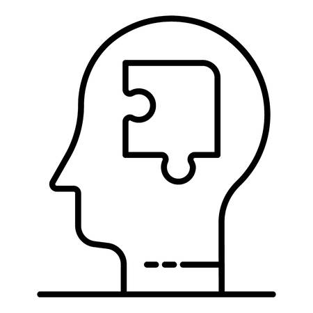 Puzzle mind man icon, outline style