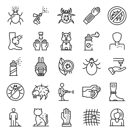 Mite icons set. Outline set of mite vector icons for web design isolated on white background