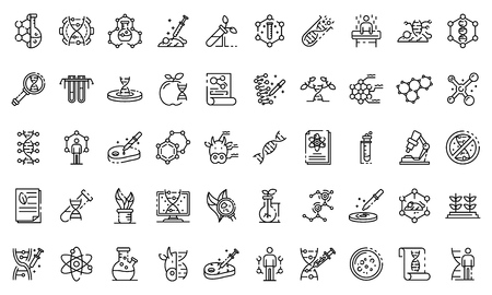 Genetic engineering icons set. Outline set of genetic engineering vector icons for web design isolated on white background