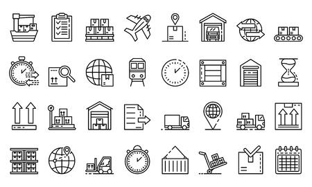 Warenexportikonen eingestellt. Umreißen Sie den Warenexportvektorikonen für das Webdesign, das auf weißem Hintergrund lokalisiert wird