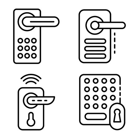 Wireless door lock icons set. Outline set of wireless door lock vector icons for web design isolated on white background  イラスト・ベクター素材