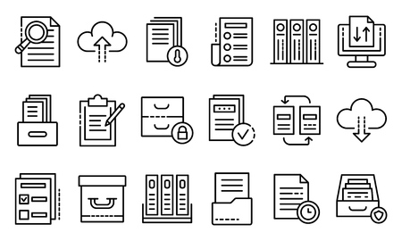 Archive icons set. Outline set of archive vector icons for web design isolated on white background