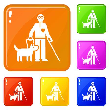 Invalid person with dog icons set collection vector 6 color isolated on white background