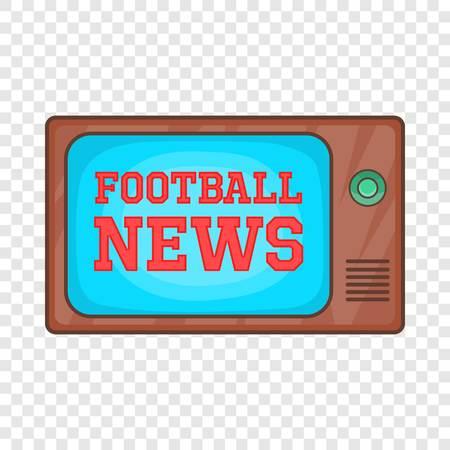Actualités du football sur l'icône de télévision rétro en style cartoon isolé sur fond pour toute conception de sites Web Vecteurs