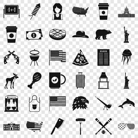 America icons set, simple style
