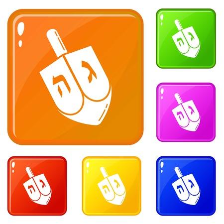 Dreidel icons set vector color
