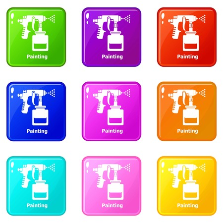 Spray gun icons set 9 color collection isolated on white for any design