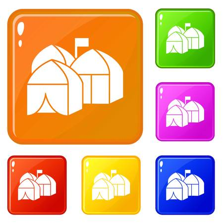 Refugee tent city icons set vector color