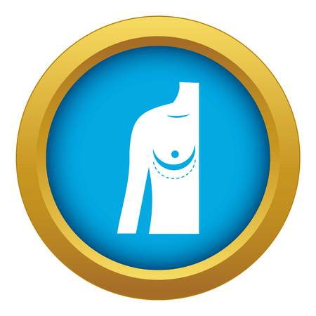Breast implant surgery. icon blue vector isolated