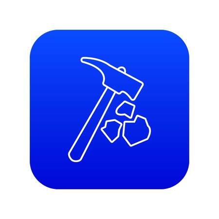 Minning hand hammer icon blue vector isolated on white background