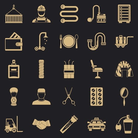 Production icons set, simple style Vectores