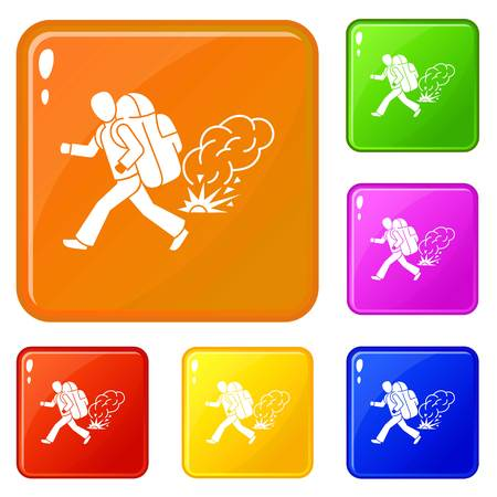 Running migrant man icons set collection vector 6 color isolated on white background