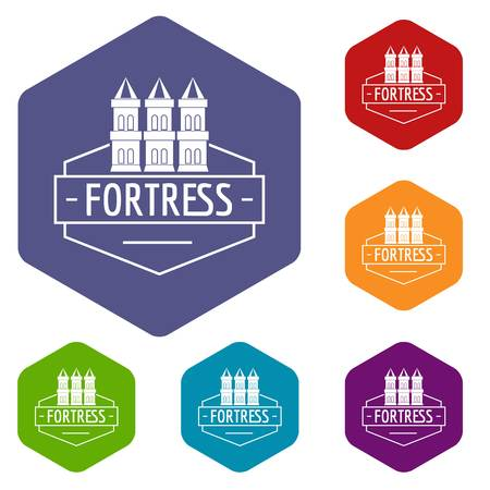 Fortress icons vector hexahedron Illustration