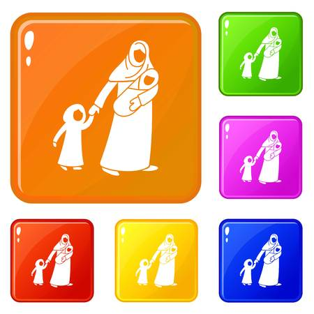 Refugee mother children icons set collection vector 6 color isolated on white background Иллюстрация