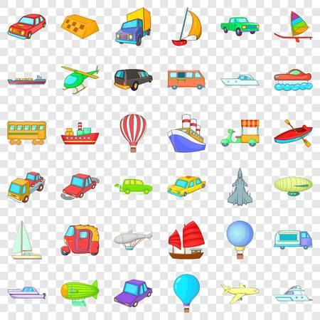 City vehicle icons set, cartoon style