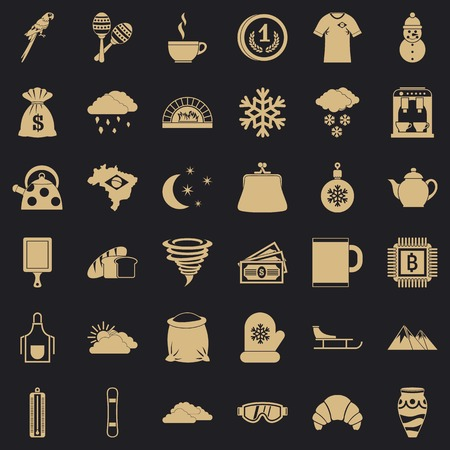 Warm coffee icons set, simple style