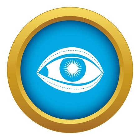 Plastic surgery of eye icon blue vector isolated on white background for any design