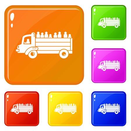 Réfugiés personnes camion icons set collection vector 6 couleur isolé sur fond blanc Vecteurs