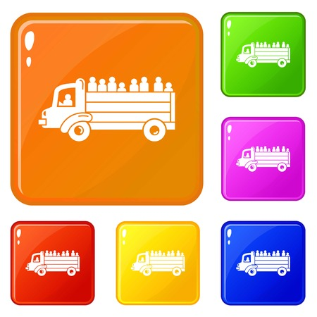 Refugee people truck icons set collection vector 6 color isolated on white background Vettoriali