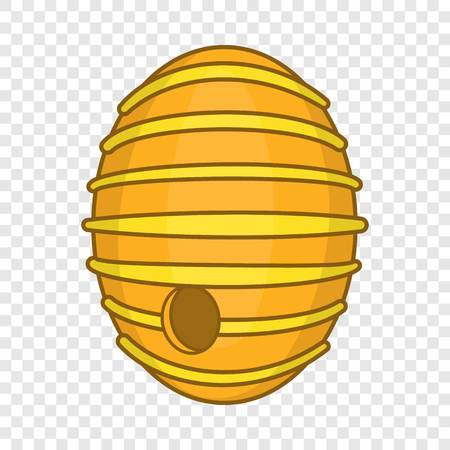 Round beehive icon in cartoon style isolated on background for any web design