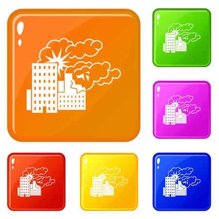 City bomb war icons set collection vector 6 color isolated on white background