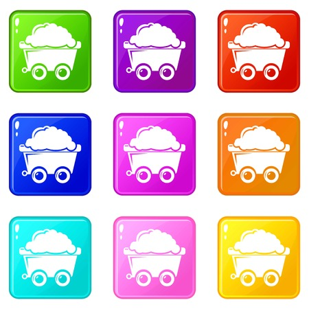 Mining cart icons set 9 color collection