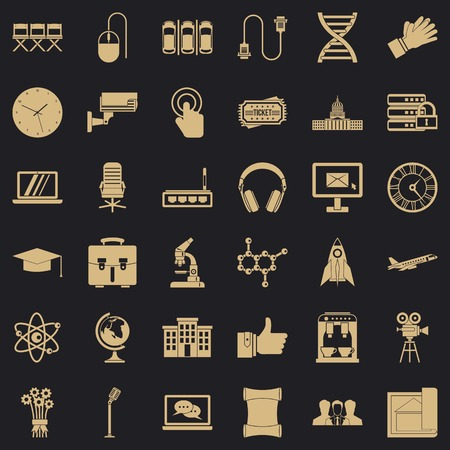 Science conference icons set, simple style Stock Illustratie