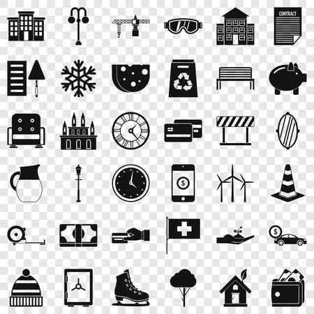Villa icons set, simple style