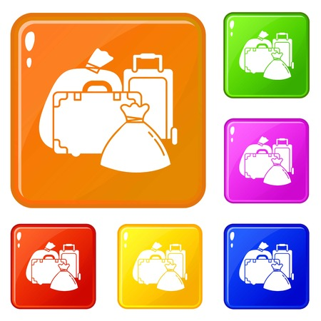 Migrant refugee bags icons set collection vector 6 color isolated on white background
