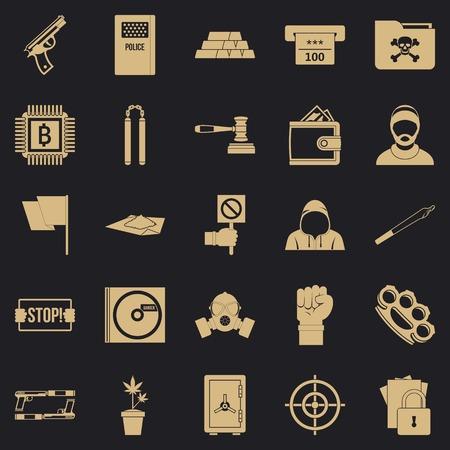 Jeu d'icônes de délit, style simple Vecteurs