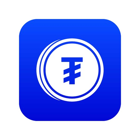Tugrik coin icon digital blue for any design isolated on white vector illustration