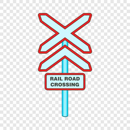 Sign rail road crossing icon in cartoon style isolated on background for any web design