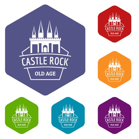 Castle rock icons vector hexahedron Illustration