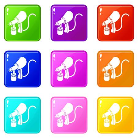 Air paint sprayer icons set 9 color collection isolated on white for any design Ilustração