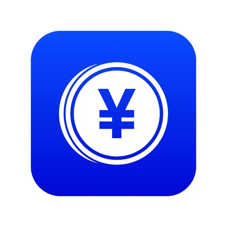 Coin yen icon digital blue for any design isolated on white vector illustration