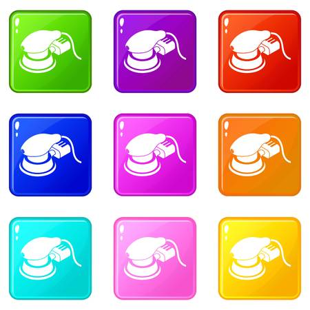 Circular sheet sander icons set 9 color collection isolated on white for any design