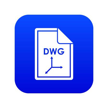 File DWG icon digital blue for any design isolated on white vector illustration