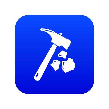 Minning main marteau icône bleu vecteur isolé sur fond blanc