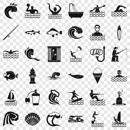 Sea water icons set, simple style
