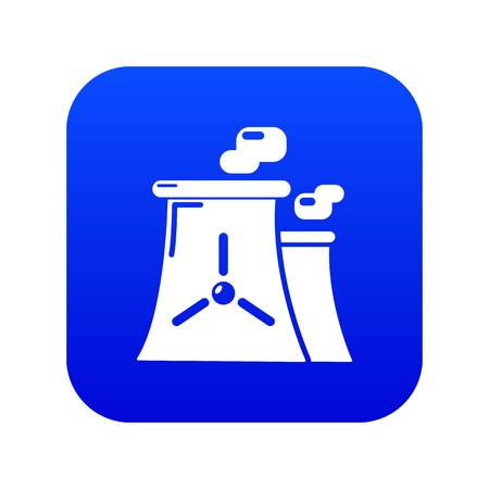Nuclear power plant tower icon blue vector isolated on white background