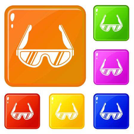 Hiking glasses icons set collection vector 6 color isolated on white background