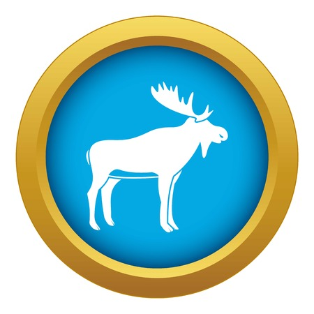 Deer icon blue vector isolated on white background for any design Illustration