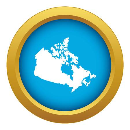 Canada map icon blue vector isolated on white background for any design