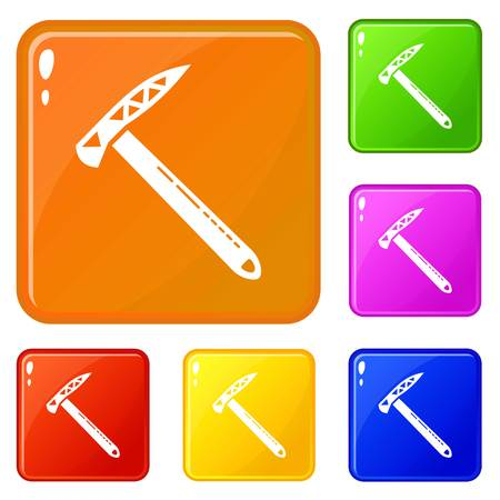 Hiking axe icons set vector color