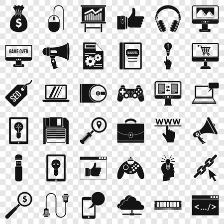 Web game icons set, simple style