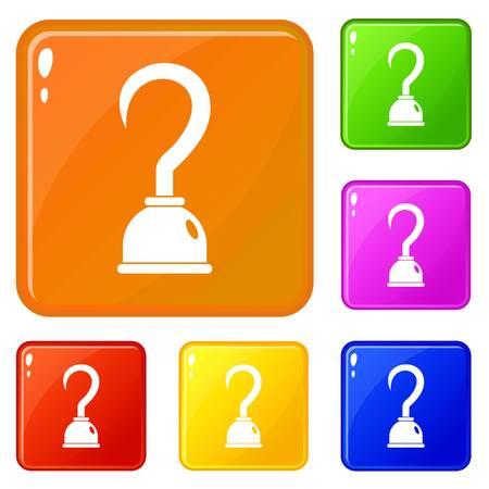 Hook icons set vector color Illustration