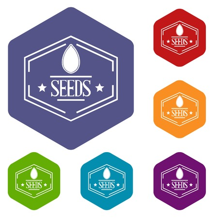 Seed icons vector hexahedron